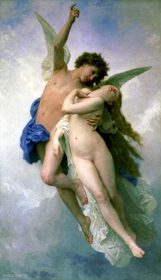 Romantic Art Psyche et L'Amour by William-Adolphe Bouguereau (1889)
