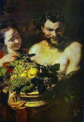 Romantic Art - Satyr and Girl with Basket of Fruit